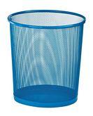 Корзина для бумаг круглая, металлическая, синяя (распродажа)