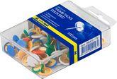 Кнопки цветные, 100 шт., пластиковое покрытие, пластиковый контейнер