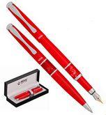 Комплект: ручка  перьевая + шариковая в подарочном футляре L, красный