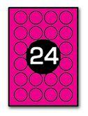 Этикетки с клейким слоем круглые 24шт., диаметр 45мм 25 листов, розовый