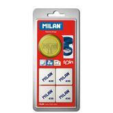 Точилка MILAN SPIN с ластиком MILAN 430, 4 шт. в блистере