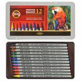 Карандаши цветные акварельные бездревесные Progresso, 12 цветов, метал.упаковка