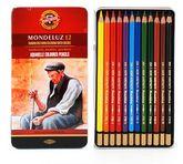 Карандаши цветные акварельные Mondeluz, 12 цветов, метал. упаковка
