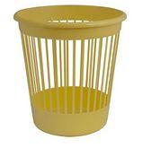 Корзина для бумаг круглая, пластиковая, желтая