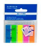 Закладки пластиковые с клейким слоем NEON 45x12мм, 5х20 л., ассорти