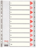 Индекс-разделитель Esselte, А4, 10 разделов, РР, серый