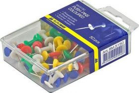 Кнопки-гвоздики цветные, 50 шт., пластиковый контейнер