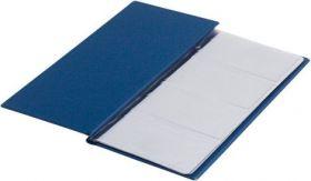 Визитница с впаянными файлами Buromax, 96 визиток, винил, темно-синяя