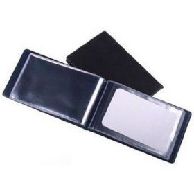 Визитница с впаянными файлами Panta Plast, 24 визитки, PVC, темно-синяя
