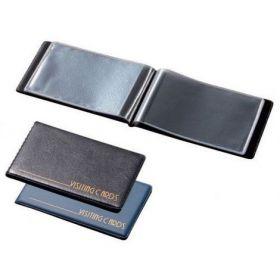 Визитница с впаянными файлами Panta Plast, 24 визитки, винил, черная
