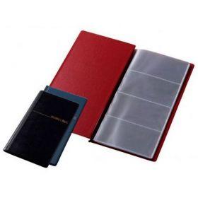 Визитница с впаянными файлами Panta Plast, 96 визиток, винил, бордовая