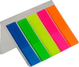 Закладки пластиковые с клейким слоем NEON 45x12мм, 5х25л., ассорти