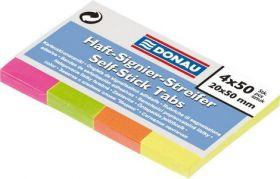 Закладки бумажные с клейкой полоской, 4 цвета. х50л., 20х50мм, неон, ассорти