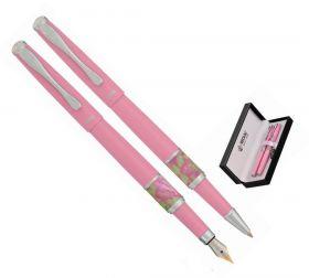Комплект из перьевой ручки и ручки-роллера в подарочном футляре L, розовый