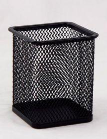 Подставка для ручек металлическая квадратная Buromax, черная