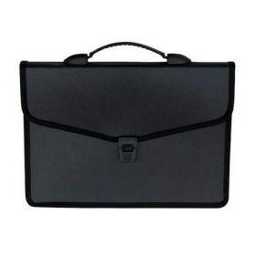 Пластиковый портфель Buromax А4, 3 отделения, черный
