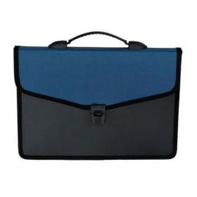 Пластиковый портфель Buromax А4, 3 отделения, черный с синим