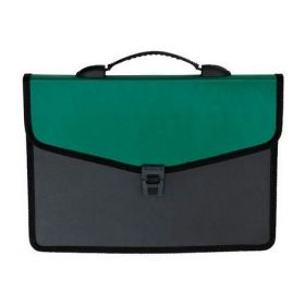 Пластиковый портфель Buromax А4, 3 отделения, черный с зеленым