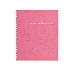Бизнес-тетрадь на пружине Barocco В5, 80 листов, клетка, пластиковая обложка, розовый