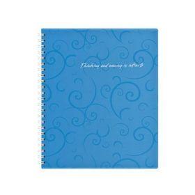 Бизнес-тетрадь на пружине Barocco В5, 80 листов, клетка, пластиковая обложка, голубой