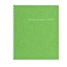 Бизнес-тетрадь на пружине Barocco В5, 80 листов, клетка, пластиковая обложка, салатовый