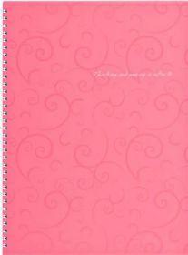 Бизнес-тетрадь на пружине Barocco А4, 80 листов, клетка, пластиковая обложка, розовый
