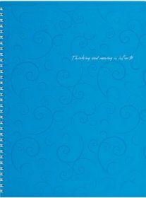 Бизнес-тетрадь на пружине Barocco А4, 80 листов, клетка, пластиковая обложка, голубой