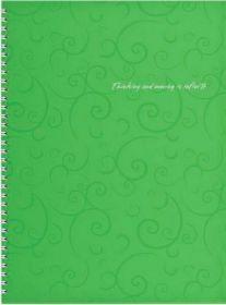 Бизнес-тетрадь на пружине Barocco А4, 80 листов, клетка, пластиковая обложка, салатовый