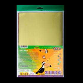 Бумага цветная фольгированная, А4, 10 листов, 10 цветов