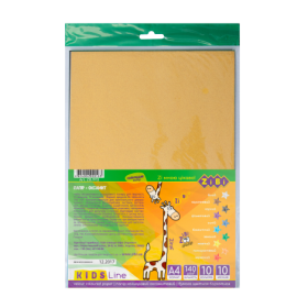 Бумага цветная бархатная, А4, 10 листов, 10 цветов