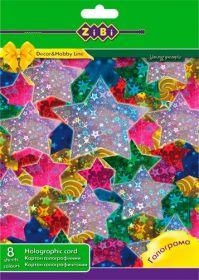 Картон цветной голографический А4, 8 цветов, 8 листов
