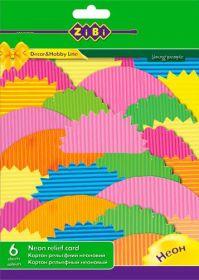 Картон цветной рельефный НЕОН А4, 6 цветов, 6 листов