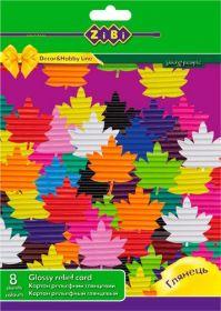 Картон цветной рельефный А4, 8 цветов, 8 листов