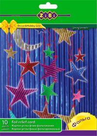 Картон цветной рельефный фольгированный А4, 10 цветов, 10 листов