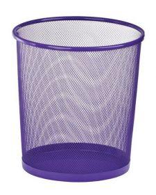 Корзина для бумаг круглая, металлическая, фиолетовая