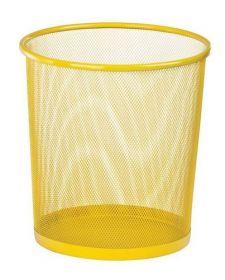 Корзина для бумаг круглая, металлическая, желтая