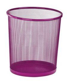 Корзина для бумаг круглая, металлическая, розовая