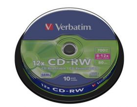 Диск CD-RW, 700Mb, 12-24х, Cake(10)