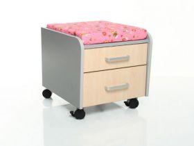 Тумбочка Mealux BD-C2M/PN фасад клен / подушка розовая