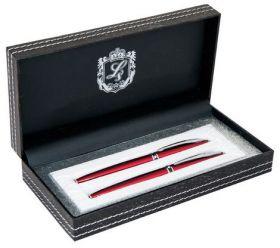 """Комплект из перьевой и  ручки-роллера """"Elegance"""", красный, в подарочном футляре (распродажа)"""