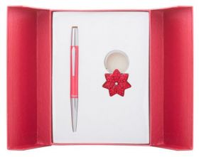 """Набор подарочный """"Star"""": ручка шариковая + брелок, красный"""