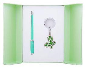 """Набор подарочный""""Night Moth"""": ручка шариковая + брелок, зеленый"""