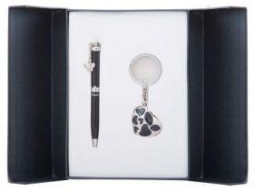 """Набор подарочный """"Romance"""": ручка шариковая + брелок, черный"""