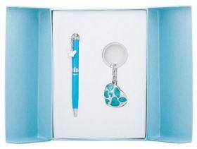 """Набор подарочный """"Romance"""": ручка шариковая + брелок, синий"""