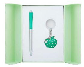 """Набор подарочный """"Apple"""": ручка шариковая + брелок, зеленый"""