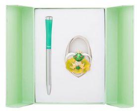 """Набор подарочный """"Fairy Tale"""": ручка шариковая + крючок д/ сумки, зеленый"""