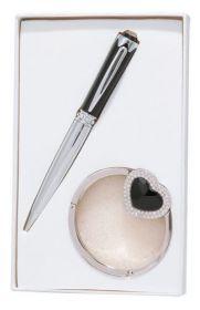 """Набор подарочный """"Crystal"""": ручка шариковая + крючок д/ сумки, черный"""