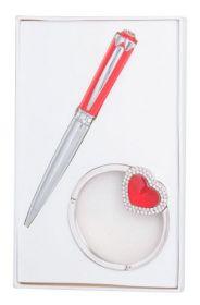 """Набор подарочный """"Crystal"""": ручка шариковая + крючок д/ сумки, красный"""