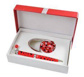 """Набор подарочный """"Elegance"""": ручка шариковая + крючок д/ сумки, красный"""