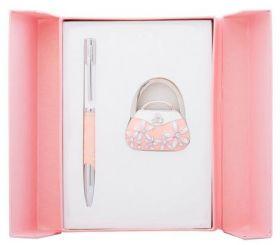 """Набор подарочный """"Sense"""": ручка шариковая + крючок д/ сумки, розовый"""